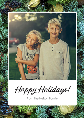 Holiday Card - Green - Portrait with Blank A7 Envelopes