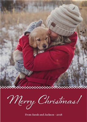 Holiday Card - Red - Portrait with Blank A7 Envelopes