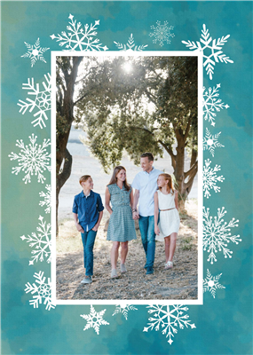 Holiday Card - Snowflake - Portrait with Blank A7 Envelopes